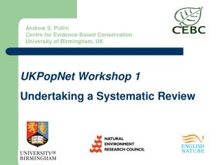 UKPopNet Workshop 1 Undertaking a Systematic Review