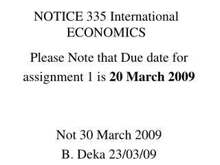 NOTICE 335 International ECONOMICS
