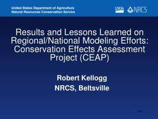 Robert Kellogg NRCS, Beltsville
