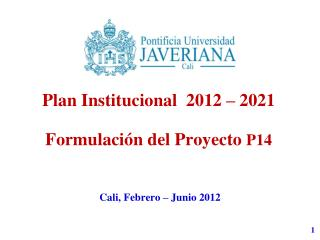 Plan  Institucional   2012 – 2021 Formulación del Proyecto  P14