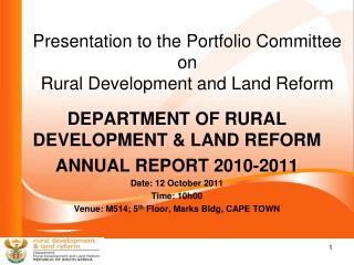 Presentation to the Portfolio Committee on  Rural Development and Land Reform