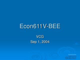 Econ611V-BEE