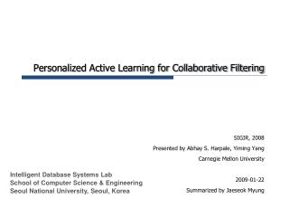 Personalized Active Learning for Collaborative Filtering