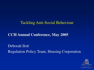 Tackling Anti-Social Behaviour