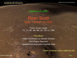 Ryan Scott Week 7: March 1st, 2007