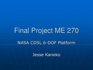 Final Project ME 270