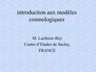 introduction aux modèles cosmologiques