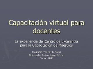 Capacitaci�n virtual para docentes