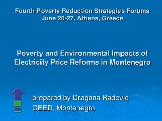 Poverty and Environmental Impacts of Electricity Price Reforms in Montenegro
