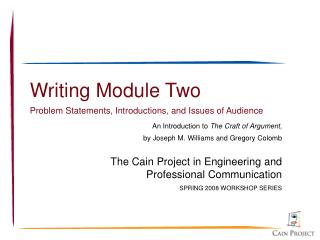 Writing Module Two Problem Statements, Introductions, and Issues of Audience