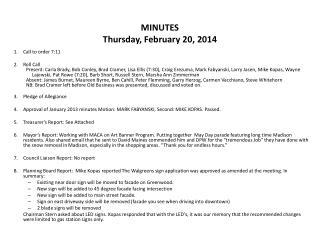MINUTES Thursday, February 20, 2014
