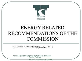 ENERGY RELATED RECOMMENDATIONS OF THE COMMISSION