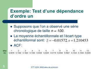 Exemple: Test d'une dépendance d'ordre un