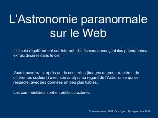 L'Astronomie paranormale sur le Web