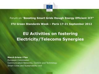 EU Activities on fostering  Electricity/Telecoms Synergies