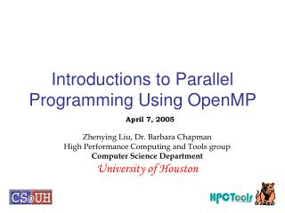 Introductions to Parallel Programming Using OpenMP