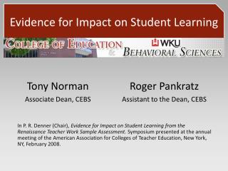 Evidence for Impact on Student Learning