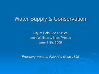 Water Supply & Conservation