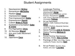 Student Assignments