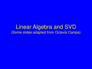 Linear Algebra and SVD Some slides adapted from Octavia Camps