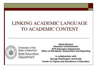 LINKING ACADEMIC LANGUAGE TO ACADEMIC CONTENT