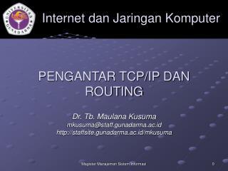 PENGANTAR TCP/IP DAN ROUTING