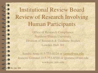 Institutional Review Board Review of Research Involving Human Participants