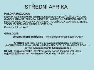 STŘEDNÍ AFRIKA