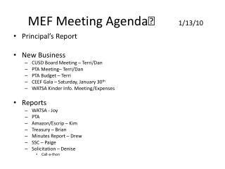 MEF Meeting Agenda	        1/13/10