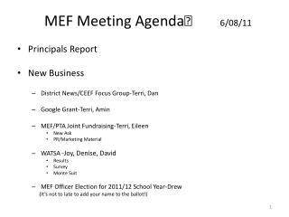 MEF Meeting Agenda 6/08/11