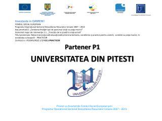 Partener P1 UNIVERSITATEA DIN PITESTI