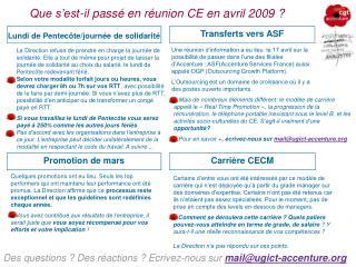 Que s'est-il passé en réunion CE en avril 2009 ?