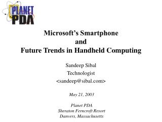 Microsoft�s Smartphone and Future Trends in Handheld Computing
