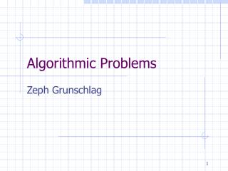 Algorithmic Problems