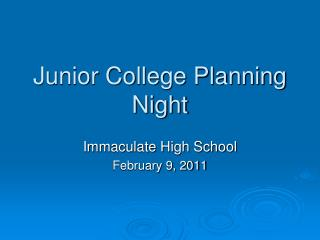 Junior College Planning Night