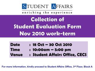Collection of  Student  Evaluation Form  Nov 2010 work-term