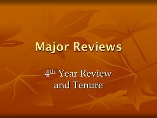 Major Reviews