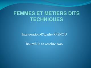 Intervention d'Agathe KPENOU  Bourail, le 22 octobre 2010