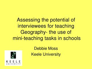 Assessing the potential of interviewees for teaching Geography- the use of  mini-teaching tasks in schools