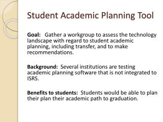 Student Academic Planning Tool