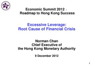 Economic Summit 2012 ﹕  Roadmap to Hong Kong Success Excessive Leverage: