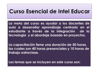 Curso Esencial de Intel Educar