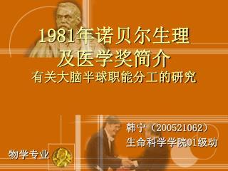 1981 年诺贝尔生理及医学奖简介 有关大脑半球职能分工的研究