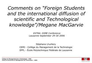 Stéphane Lhuillery CEMI - Collège du Management de la Technologie