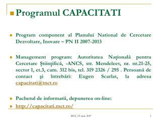 Programul CAPACITATI