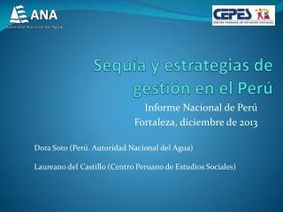 Sequía y estrategias de gestión en el Perú