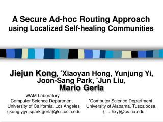 A Secure Ad-hoc Routing Approach using Localized Self-healing Communities