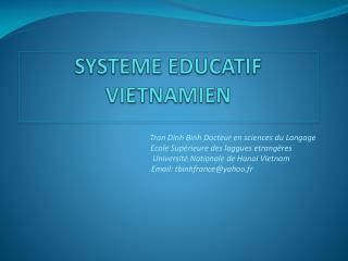 SYSTEME EDUCATIF VIETNAMIEN