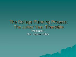 The College Planning Process: The Junior Year Timetable