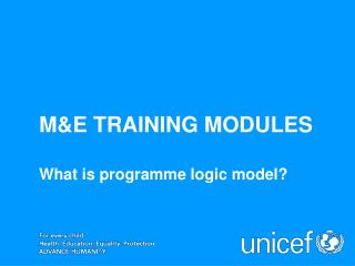 M&E TRAINING MODULES